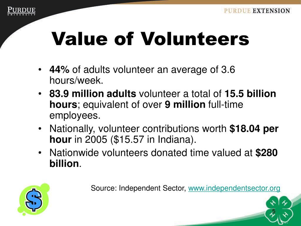 Value of Volunteers