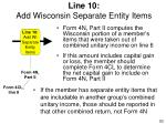 line 10 add wisconsin separate entity items