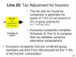 line 20 tax adjustment for insurers