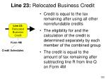 line 23 relocated business credit