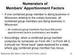 numerators of members apportionment factors