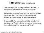 test 2 unitary business