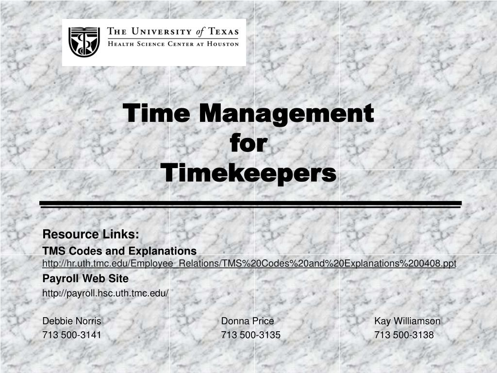 time management for timekeepers l.