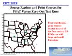 source regions and point sources for psat versus zero out test runs