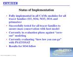 status of implementation