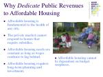 why dedicate public revenues to affordable housing