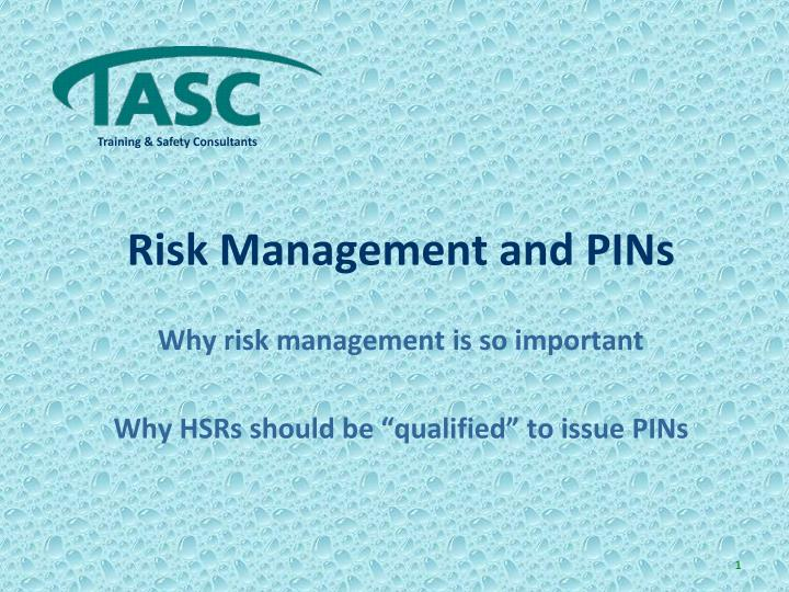 Risk management and pins