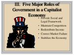 iii five major roles of government in a capitalist economy