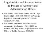 legal advice and representation re powers of attorney and administration orders