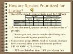 how are species prioritized for listing