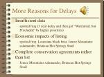 more reasons for delays