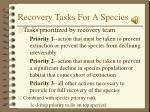 recovery tasks for a species