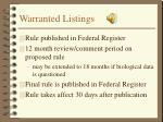 warranted listings