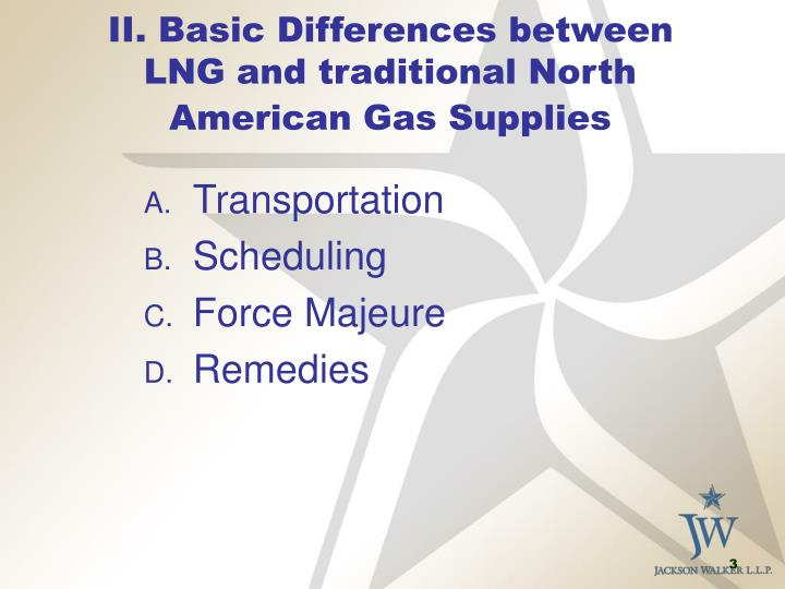Ii basic differences between lng and traditional north american gas supplies