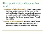 three positions in reading a myth or an ad