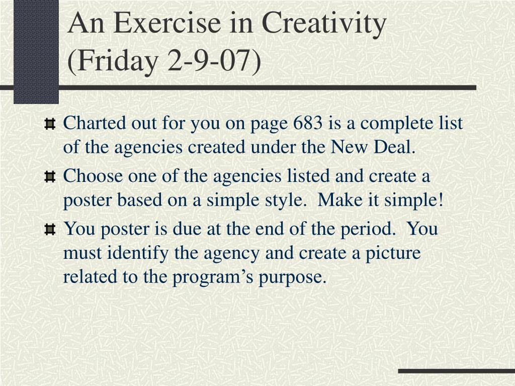 An Exercise in Creativity