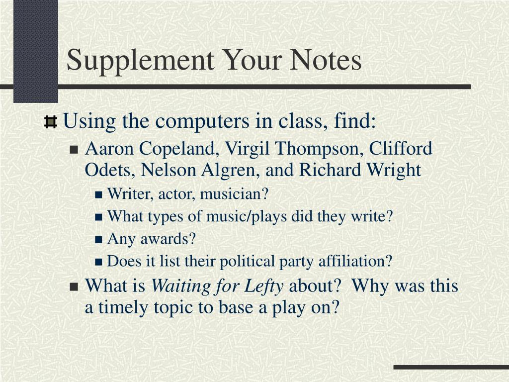 Supplement Your Notes