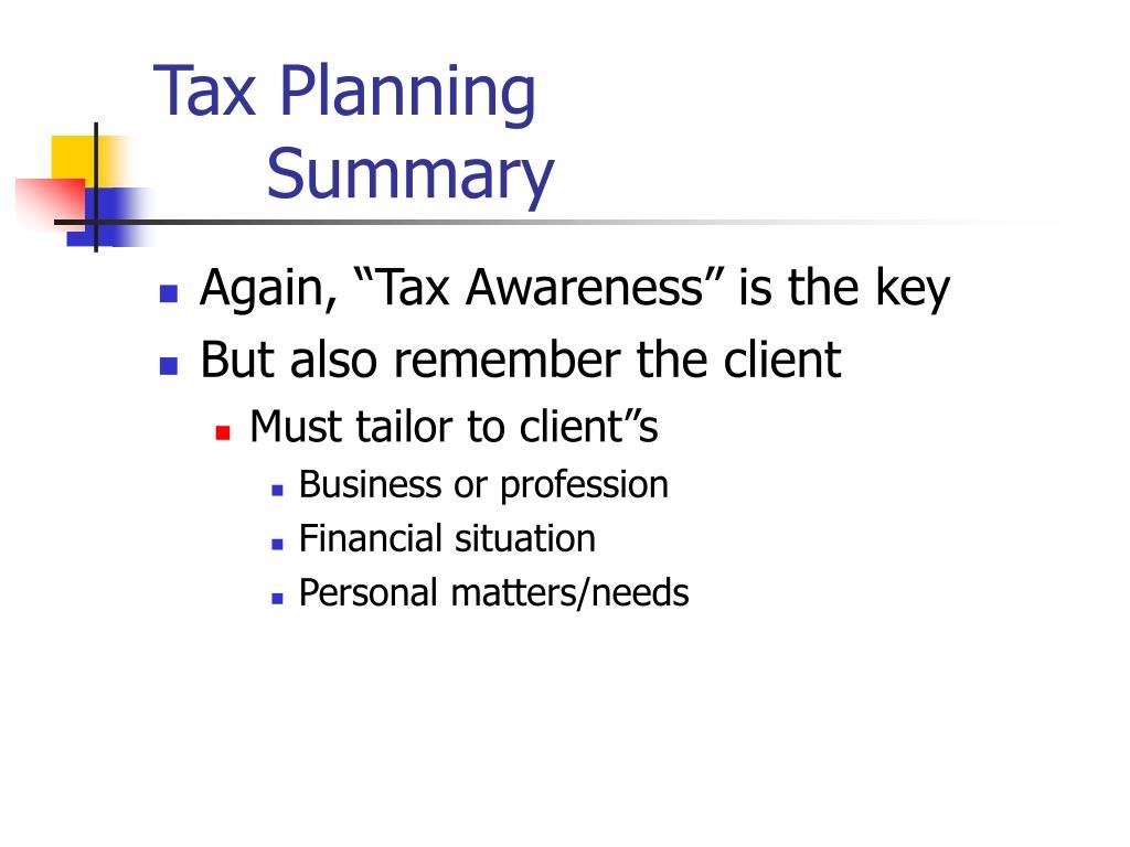 Tax Planning Summary