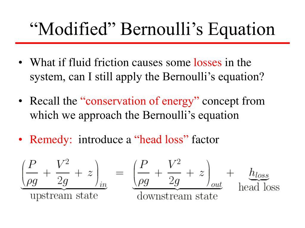 """Modified"" Bernoulli's Equation"