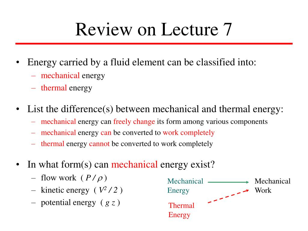 Energy carried by a fluid element can be classified into: