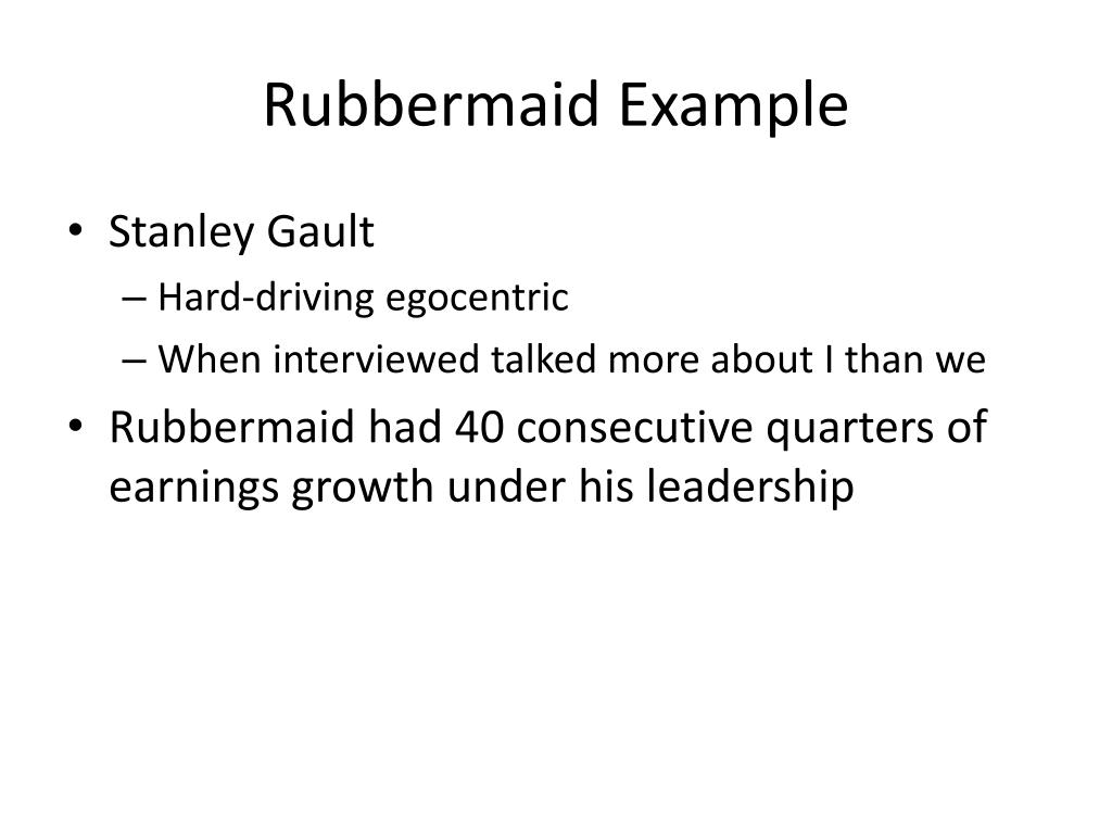 Rubbermaid Example