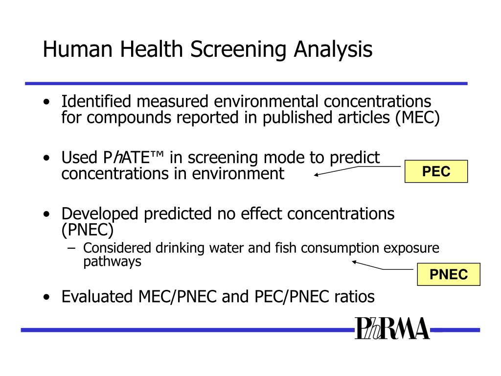 Human Health Screening Analysis