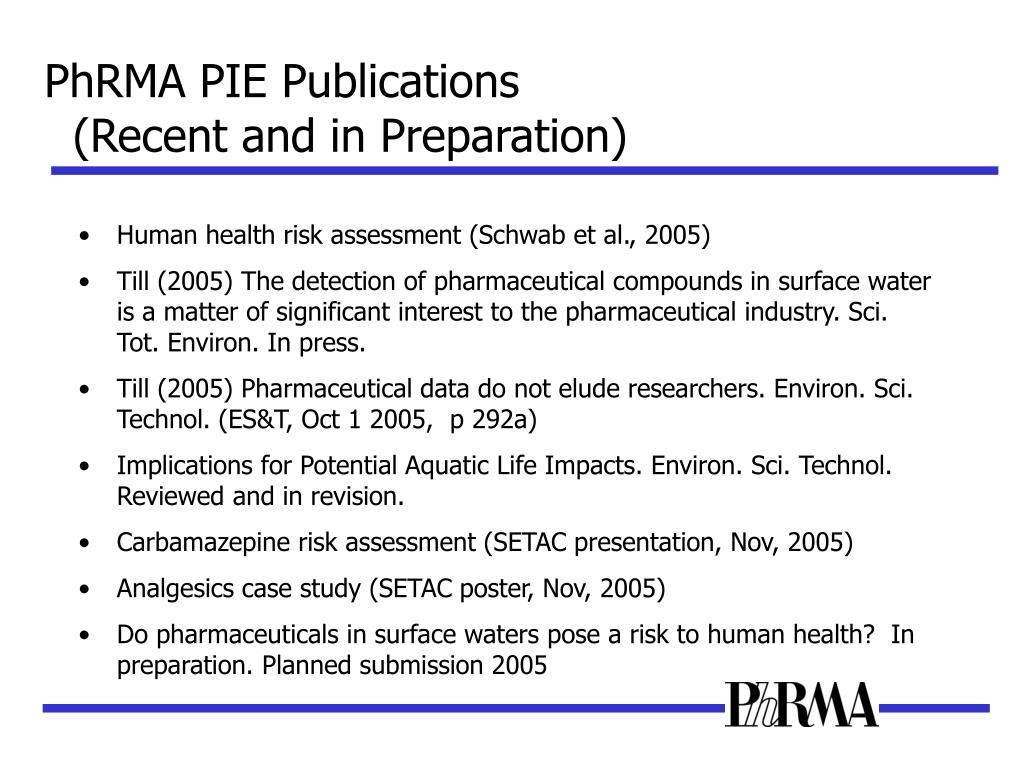 PhRMA PIE Publications