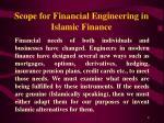 scope for financial engineering in islamic finance