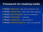 framework for studying media