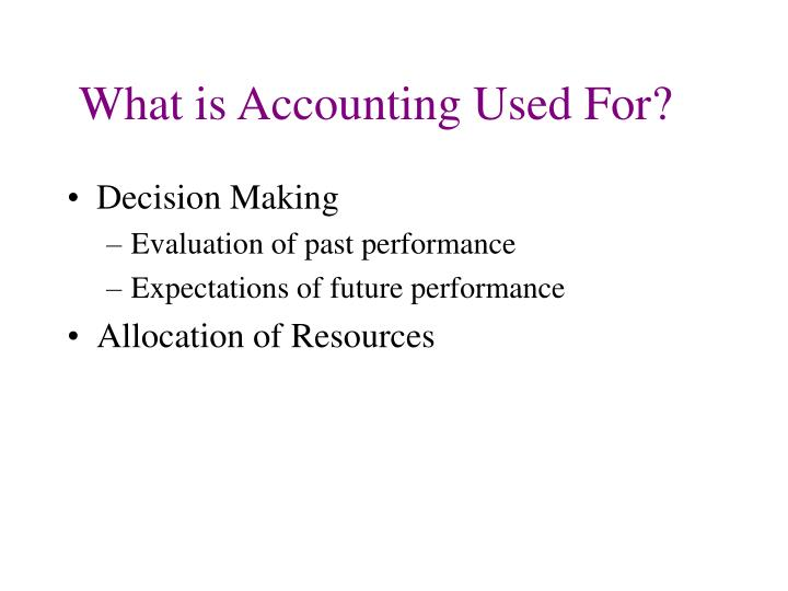What is accounting used for