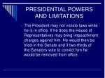 presidential powers and limitations12