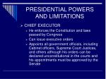 presidential powers and limitations13