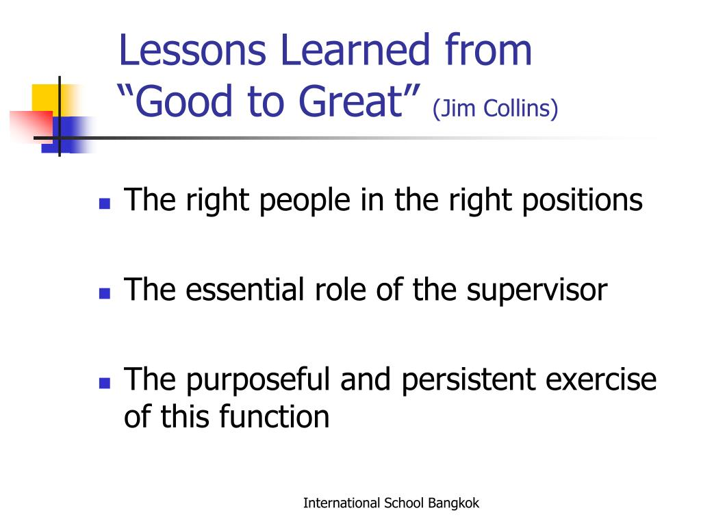 Lessons Learned from