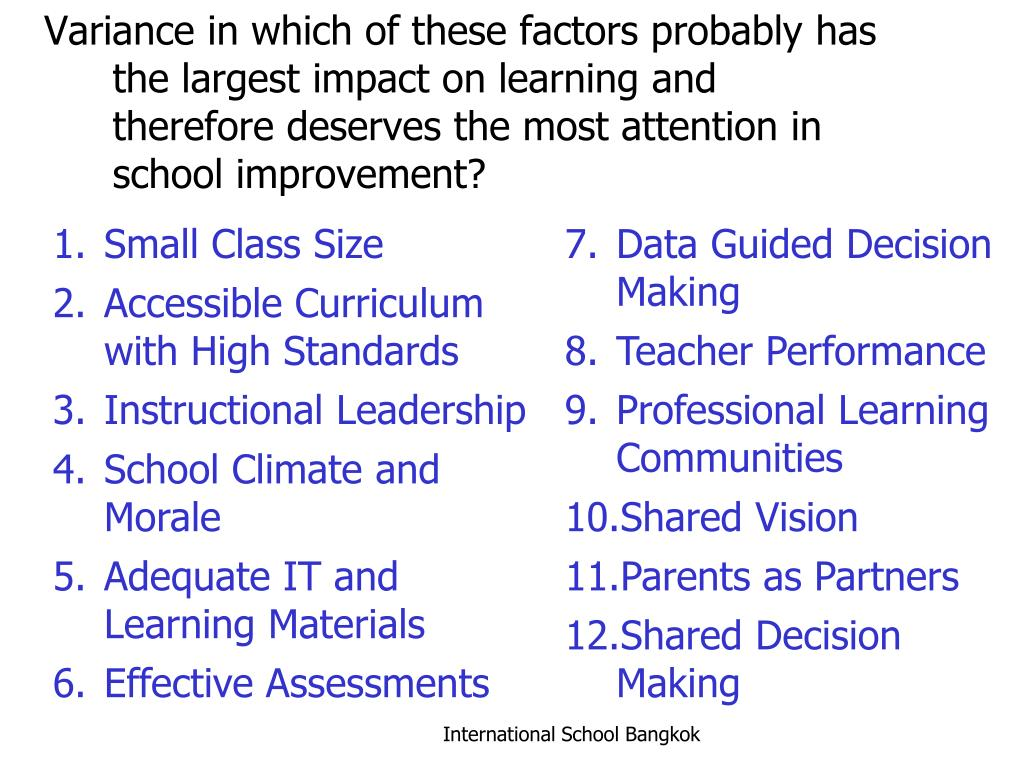 Variance in which of these factors probably has the largest impact on learning and therefore deserves the most attention in school improvement?