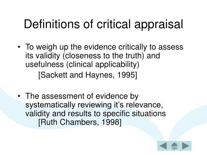Definitions of critical appraisal