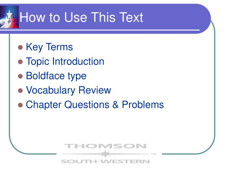 How to use this text