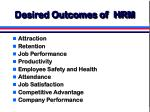 desired outcomes of hrm