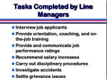 tasks completed by line managers