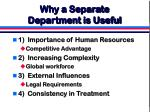 why a separate department is useful