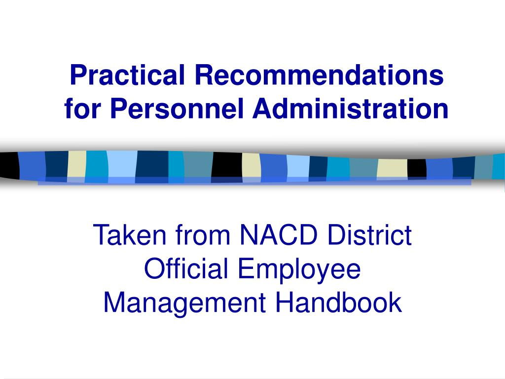 Practical Recommendations for Personnel Administration