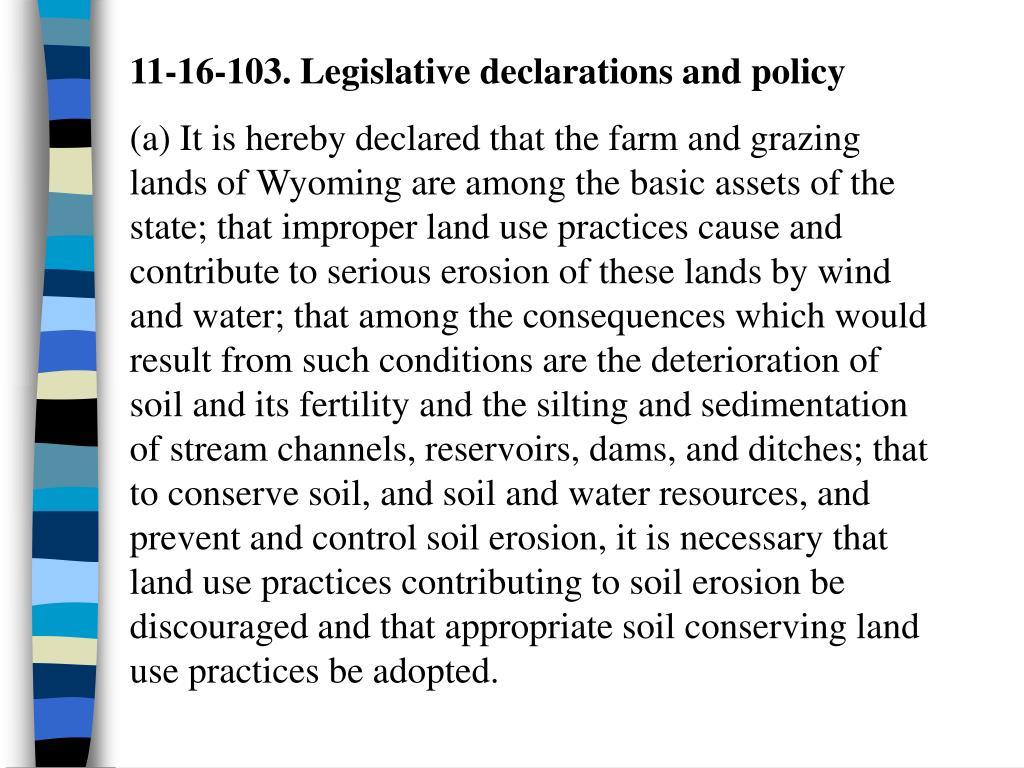 11-16-103. Legislative declarations and policy