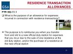 residence transaction allowances