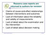 reasons case reports are returned to authors for revision