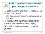 sstsd studies are feasible for practicing chiropractors