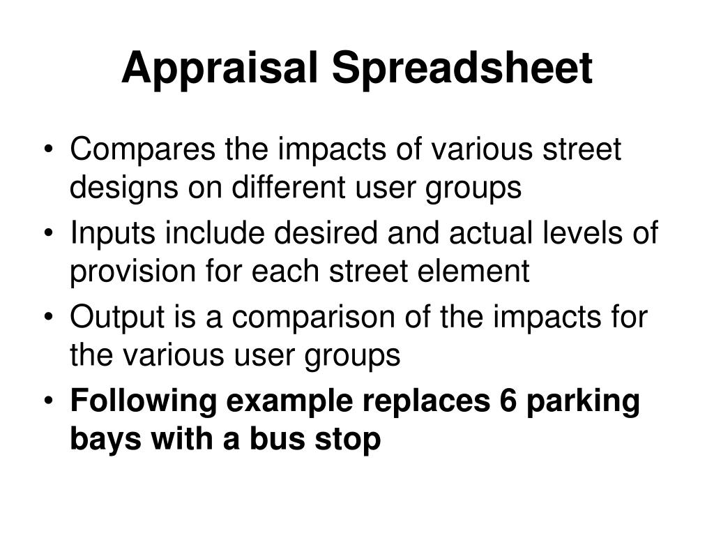 Appraisal Spreadsheet