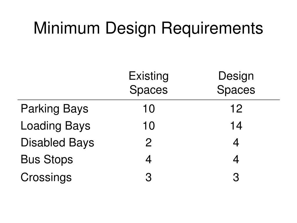 Minimum Design Requirements