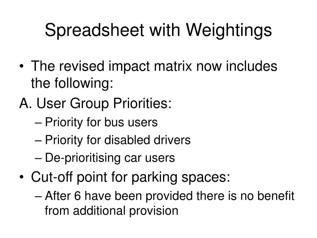 Spreadsheet with Weightings