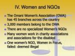 iv women and ngos