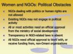 women and ngos political obstacles