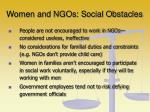 women and ngos social obstacles